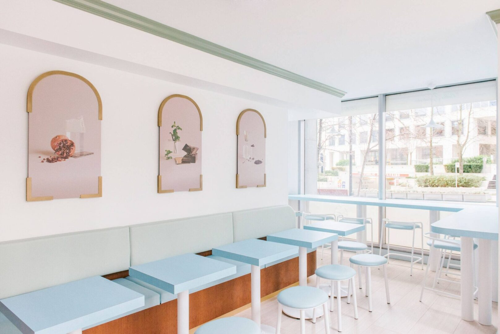 Light Blue Bar Stools and Tables