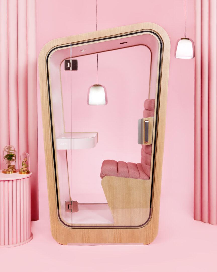 Loop-PhoneBooths-LoopSolo-Pink-Office