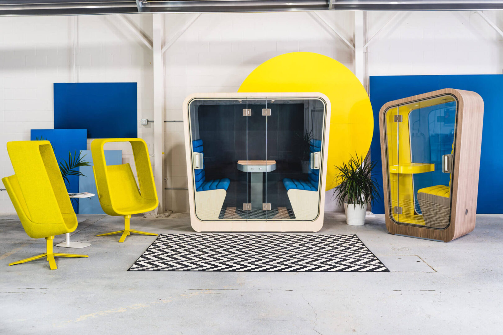 Yellow and Blue Phone Booths